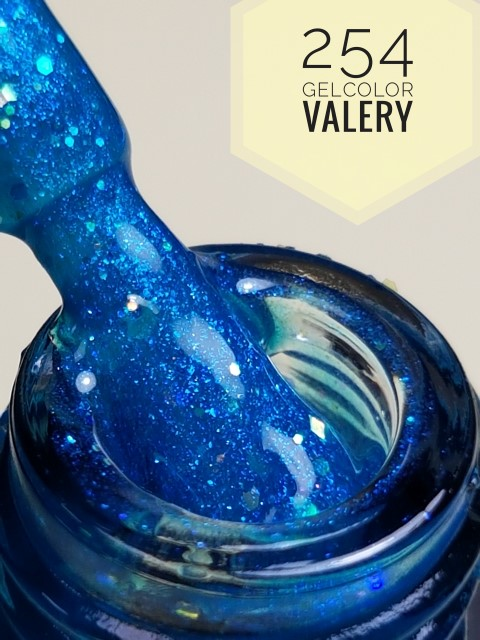 254 Blauwe Glitter Gellak