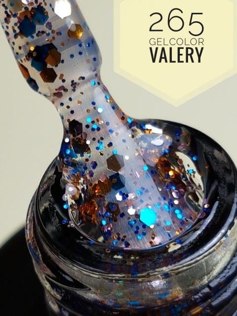 265 Doorzichtige Blauwe Gouden Glitter Gellak