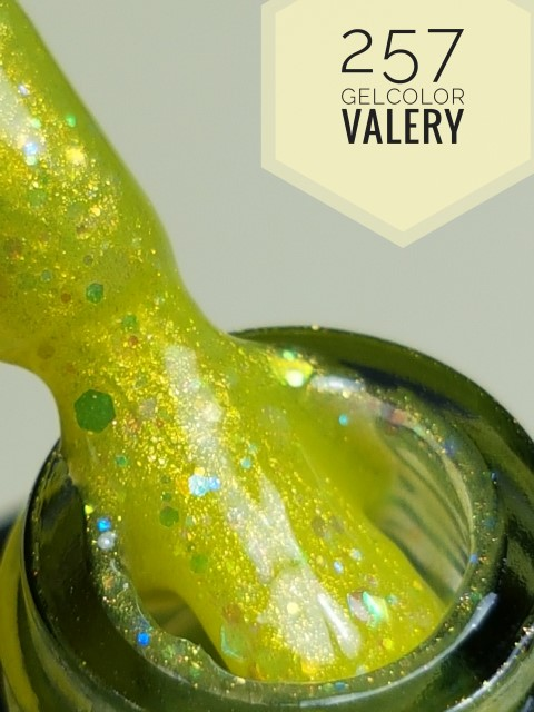 257 Licht Geel Groene Glitter Gellak